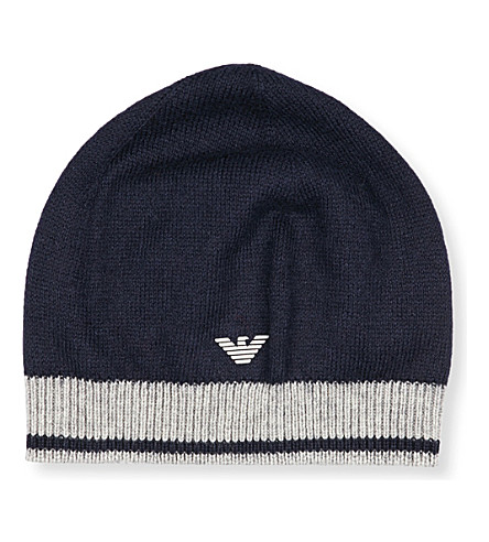 ARMANI JUNIOR Logo knit beanie hat (Navy
