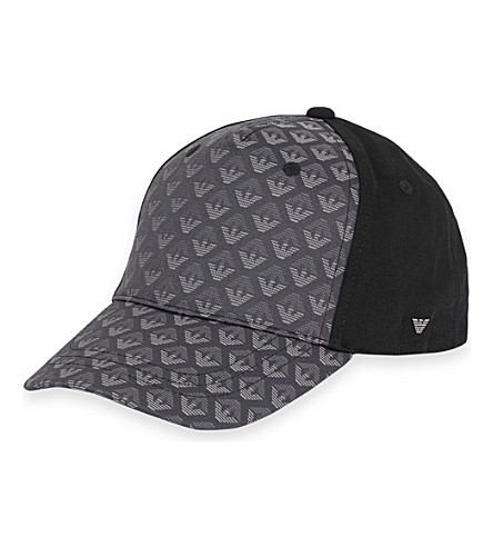 ARMANI JUNIOR Eagle-print cotton cap (Black
