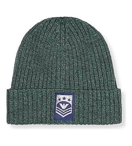 ARMANI JUNIOR Turnup logo beanie hat (Green