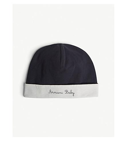 ARMANI JUNIOR Logo cotton jersey hat S-L (Navy