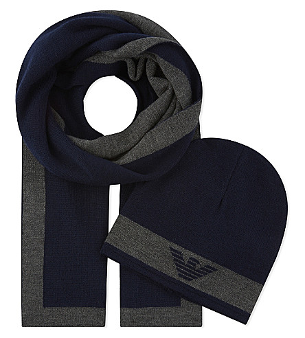 ARMANI JUNIOR Logo wool-blend scarf and beanie set (Navy