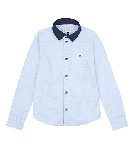 ARMANI JUNIOR Texture cotton shirt 4-16 years (Pale+blue