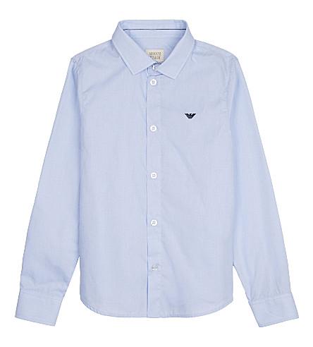 ARMANI JUNIOR Eagle cotton shirt 4-16 years (Pale+blue