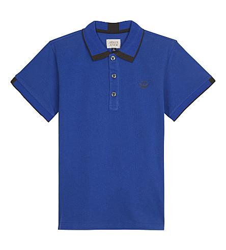 ARMANI JUNIOR Cotton polo shirt 4-16 years (Bluette
