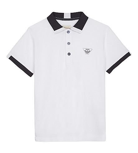 ARMANI JUNIOR Cotton polo shirt 4-16 years (White