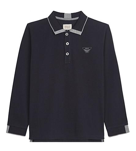 ARMANI JUNIOR Classic piqué cotton long-sleeve polo shirt 4-16 years (Navy