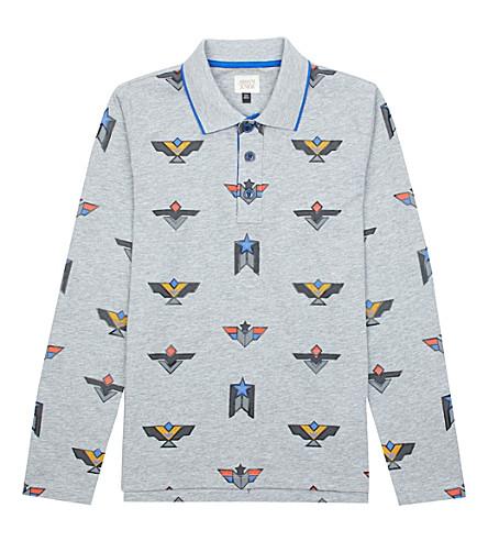 ARMANI JUNIOR Geo cotton-jersey polo shirt (Grey
