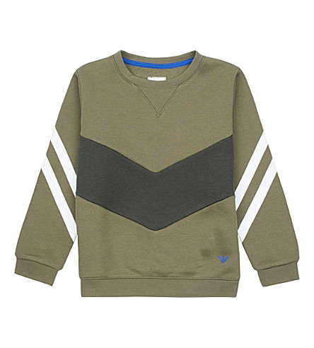ARMANI JUNIOR Stripe cotton-jersey sweatshirt 4-16 years (Olive+green