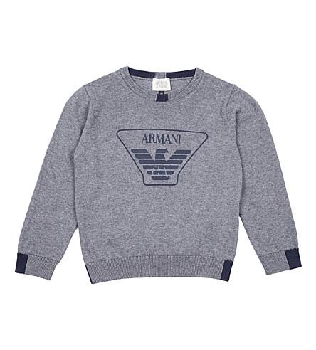 ARMANI JUNIOR Logo-print cotton and wool-blend jumper (Grey