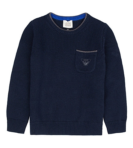 ARMANI JUNIOR Chunky knitted jumper 4-16 years (Navy