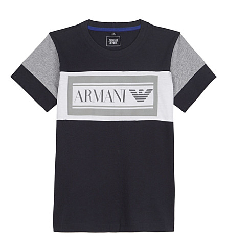 ARMANI JUNIOR Big logo cotton t-shirt 4-16 years (Navy