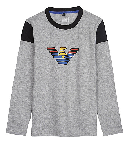 ARMANI JUNIOR Multi-coloured logo cotton t-shirt 4-16 years (Grey