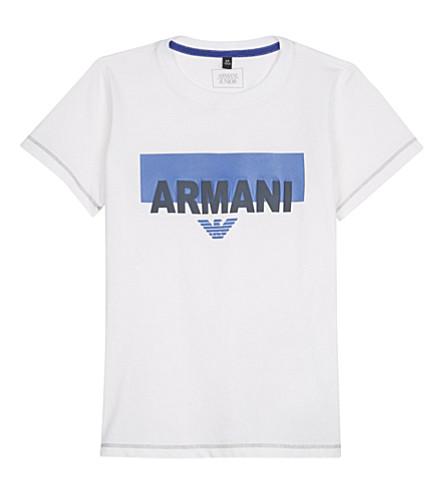 ARMANI JUNIOR Chest logo cotton t-shirt 4-16 years (White