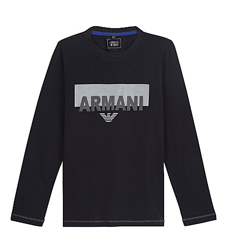 ARMANI JUNIOR Logo cotton t-shirt 4-16 years (Navy