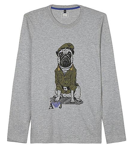 ARMANI JUNIOR Printed long-sleeved military dog print cotton top 4-14 years (Grey