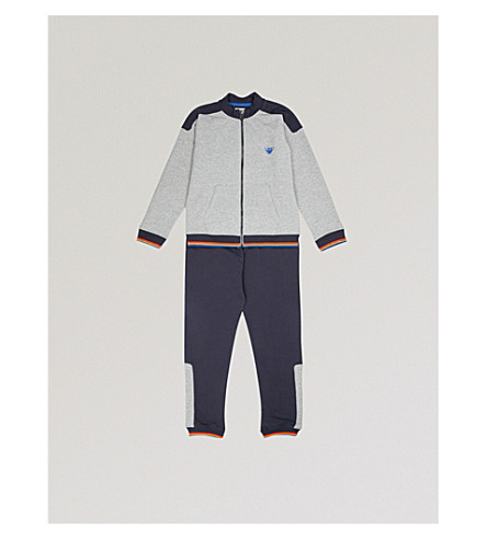 ARMANI JUNIOR Stripe stretch-cotton tracksuit 4-16 years (Grey