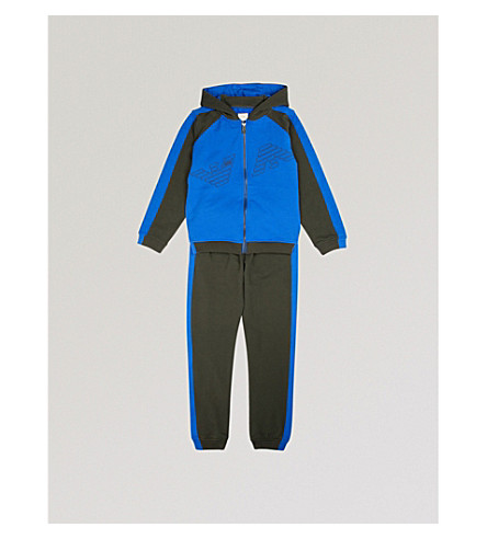 ARMANI JUNIOR Logo colour-block tracksuit 4-16 years (Bluette