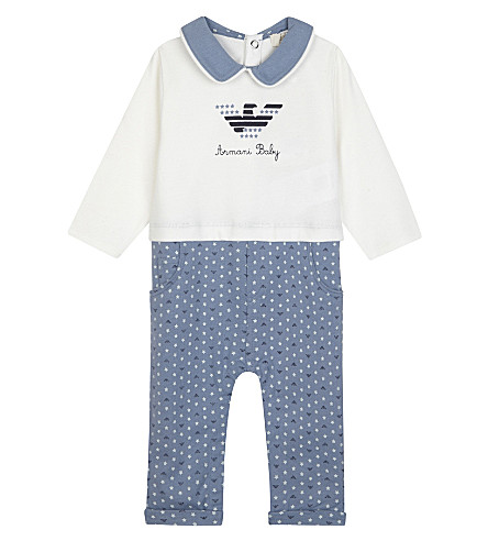 ARMANI JUNIOR Embroidered logo cotton baby grow 1-12 months (Blue