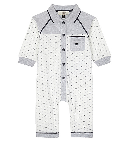 ARMANI JUNIOR Logo print cotton baby-grow 1-12 months (Grey