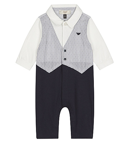 ARMANI JUNIOR Cotton waistcoat baby-grow 1-12 months (Navy