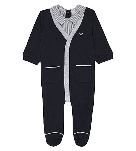 ARMANI JUNIOR Shirt detail cotton baby-grow 1-12 months (Navy