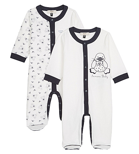 ARMANI JUNIOR Logo all-in-one pack of two 1-12 months (Navy