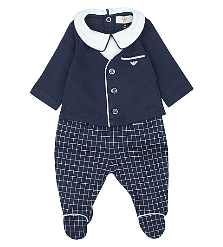ARMANI JUNIOR Top and bottoms cotton set 1-12 months (Navy