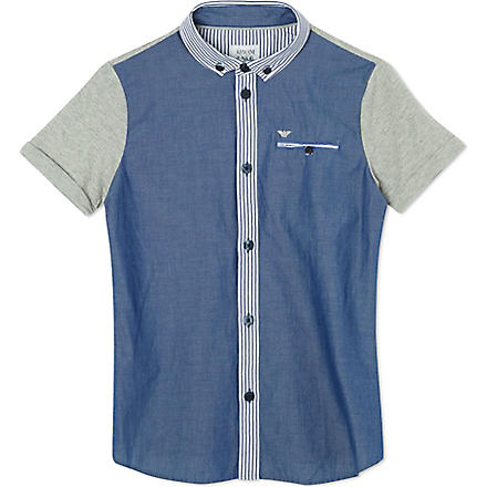 ARMANI JUNIOR Contrast denim shirt 10-16 years (Blue