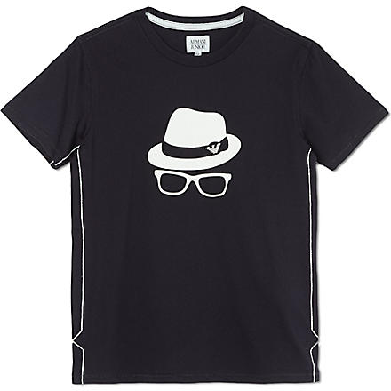 ARMANI JUNIOR Placement print t-shirt 10-16 years (Navy