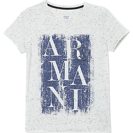 ARMANI JUNIOR Flecked logo t-shirt 10-16 years (Grey