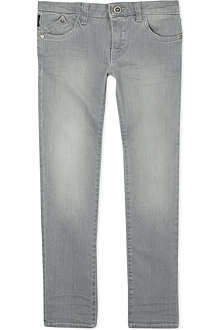 ARMANI JUNIOR Stonewashed slim-fit jeans 10-16 years