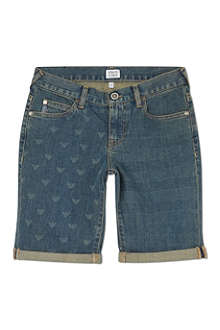 ARMANI JUNIOR Logo print denim shorts 10-16 years