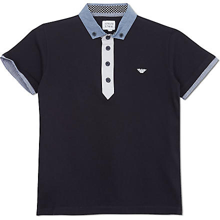 ARMANI JUNIOR Chambray collar polo shirt 10-16 years (Navy