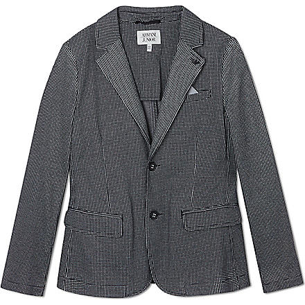 ARMANI JUNIOR Checked blazer with pocket square 10-16 years (Navy