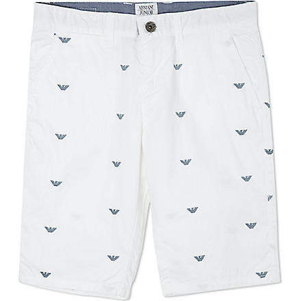 ARMANI JUNIOR Embroidered logo shorts 10-16 years (White