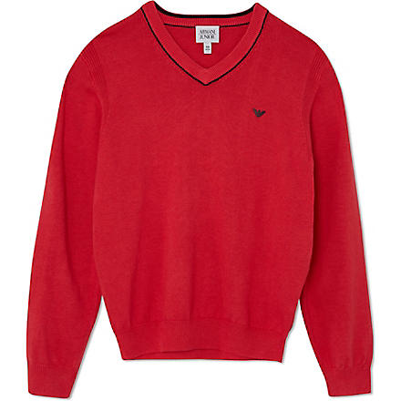 ARMANI JUNIOR Knitted v-neck jumper 10-16 years (Red