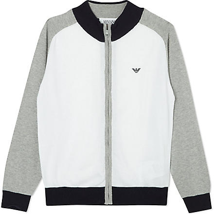 ARMANI JUNIOR Colour block cardigan 10-16 years (Grey+/+white
