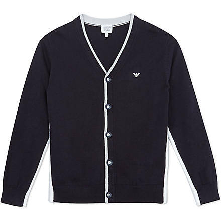 ARMANI JUNIOR Side striped cardigan 10-16 years (Navy