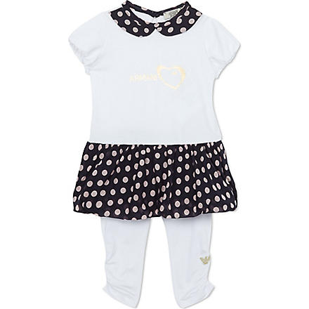 ARMANI JUNIOR Polka-dot dress 3-24 months (White/pink/navy