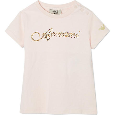 ARMANI JUNIOR Sequin logo t-shirt (Pink