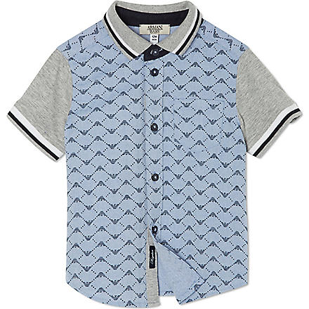 ARMANI JUNIOR Eagle polo shirt 3-24 months (White/blue