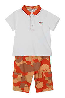 ARMANI JUNIOR T-shirt and camo shorts set 3-24 months