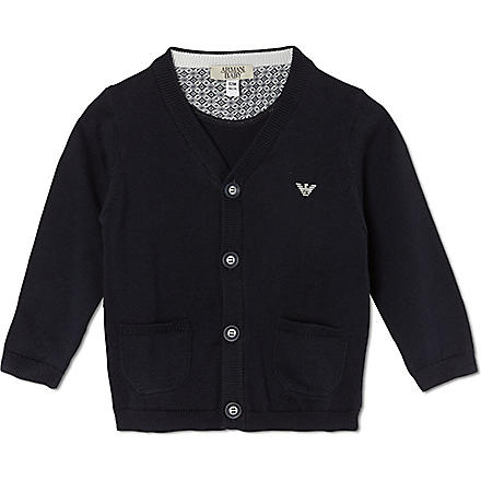 ARMANI JUNIOR Buttoned knit cardigan 3-24 months (Navy