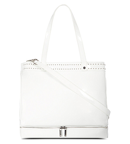 ARMANI JUNIOR Patent nappy bag (White