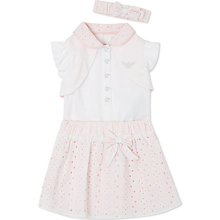 ARMANI JUNIOR Babysuit and skirt set 1-12 months (Pink/white