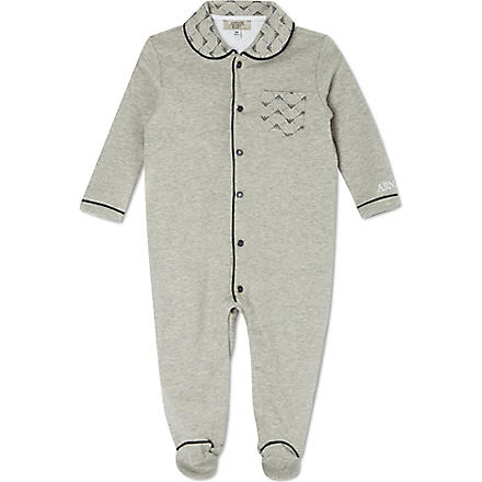 ARMANI JUNIOR Eagle collar sleepsuit 1-12 months (Grey