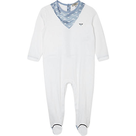 ARMANI JUNIOR Bib printed sleepsuit 3-24 months (White