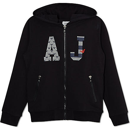 ARMANI JUNIOR Logo hooded sweatshirt 10-16 years (Navy