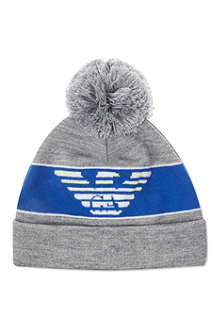ARMANI JUNIOR Eagle logo bobble hat
