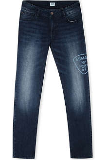 ARMANI JUNIOR Mid-wash logo jeans 9-16 years